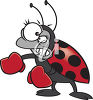 Angry Ladybug Wearing Boxing Gloves clipart
