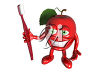 Grinning 3D Apple with a Toothbrush clipart