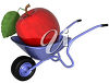 Giant Apple in a Wheelbarrow clipart