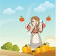Woman Holding Two Apples in the Air clipart