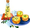 Bottle of Oil, Herbs and Food clipart