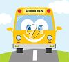 School Bus on the Road clipart