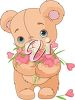 Teddy Bear Holding a Bouquet of Flowers clipart