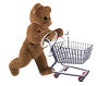 Teddy Bear Pushing a Shopping Cart clipart