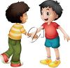 Two Boys Shaking Hands clipart