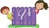 Two Kids Hiding Behind a Fence clipart