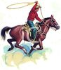 Cowboy on a Horse Throwing a Lasso clipart