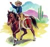 Cowboy on a Horse in the Desert clipart