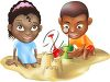 Two Kids Making a Sand Castle on the Beach clipart