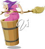 Witch with a Broomstick clipart