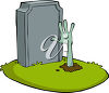 Zombie Hand Sticking Out of a Grave clipart