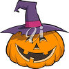 Jack 'O Lantern Wearing a Witch's Hat clipart