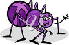 Happy Purple Spider Waving clipart