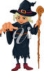 Wicked Witch Holding a Staff clipart