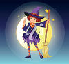 Witch Holding a Broomstick in Front of the Moon clipart