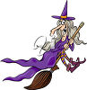 Witch Flying on a Broomstick clipart