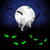 Spooky Green Eyes at Night clipart