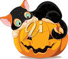 Cat Lying on a Jack O'Lantern clipart