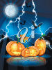Halloween Jack O'Lanterns and Bats clipart