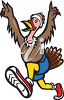 Cartoon Turkey Running clipart