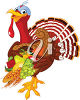 Turkey Holding Fruit and Vegetables clipart