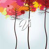 Trees with Autumn Colored Leaves clipart