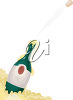 Bottle of Champagne with the Cork Flying Out of it clipart