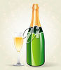 Bottle of Champagne and a Glass clipart