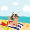 Girl Sunbathing on a Beach clipart