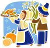 Two Pioneers Celebrating Thanksgiving clipart