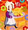 Pioneer Woman Carrying a Thanksgiving Turkey clipart