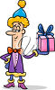 Christmas Elf Holding a Gift clipart