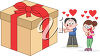 Clip Art Illustration of a Boy Giving a Gift clipart