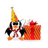 Penguin with a Gift clipart