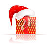 Christmas Gift Wearing a Santa Hat clipart