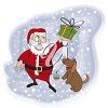 Santa Claus Giving a Gift to a Dog clipart