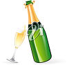 Bottle of Champagne and a Wine Glass clipart