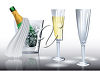 Bottle of Champagne and Two Wine Glasses clipart
