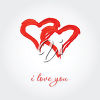 Painted Heart with the Words I Love You clipart