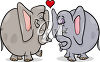 Elephants in Love clipart