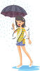 Girl Holding an Umbrella in the Rain clipart
