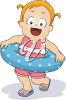 Little Girl with a Rubber Ring clipart