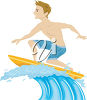 Boy Surfing on a Wave clipart