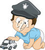 Boy Wearing a Police Hat clipart