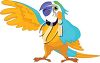 A cartoon illustration of a colourful parrot clipart