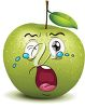 A cartoon green apple with a big tears clipart