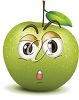 A cartoon green apple with a big smile clipart