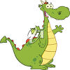 An illustration of a cartoon dragon clipart