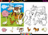 Cartoon farm animals in black and white and colour clipart
