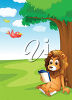 A cartoon lion is sitting on the grass clipart